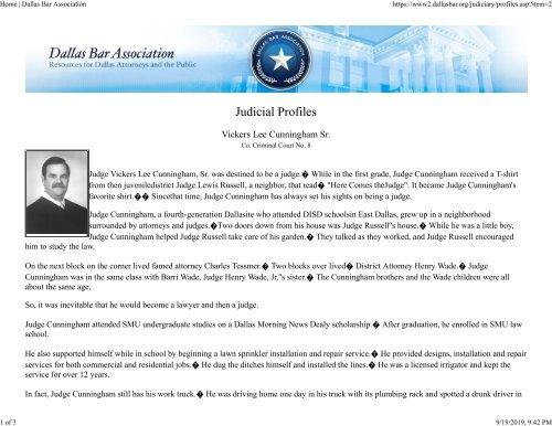 Judge Vic Cunningham Dallas Bar Association