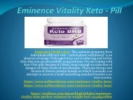 Eminence Vitality Keto - Reduces The Fat Content Form The Body