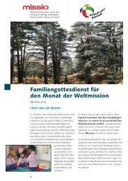Familiengottesdienst zum Monat der Weltmission