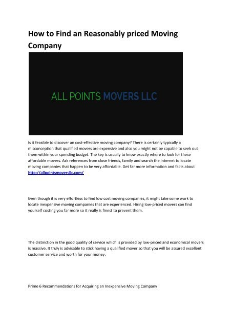 The Benefits Of Mover