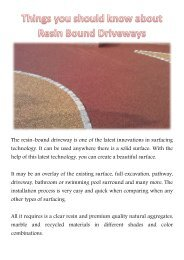 Things you should know about Resin Bound Driveways