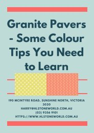 Granite Pavers - Some Colour Tips You Need to Learn