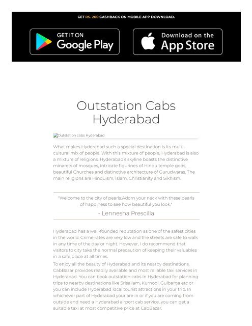 Taxi Service in Hyderabad | Outstation Cabs Hyderabad