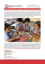 Best Play Schools in Gurgaon-Sherwood Convent School