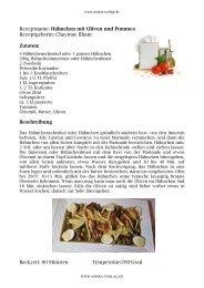 Kochbuch Rezept Hähnchen, Oliven, Pommes