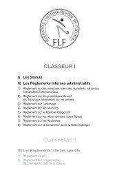Statuts et Reglements FLF - classeur 1