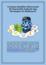 Common Qualities Showcased By Successful Android App Developers in Melbourne