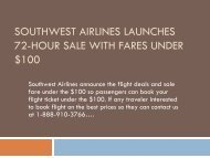 Southwest Airlines Launches 72-Hour Sale with Fares Under $100