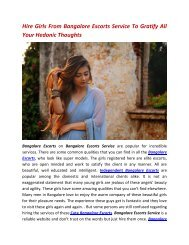 Hire Girls From Bangalore Escorts Service To Gratify All Your Hedonic Thoughts