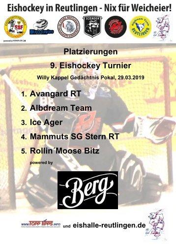 9. Reutlinger Eishockeyturnier Ergebnisstabelle 2019