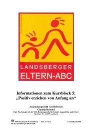 Positiv erziehen von Anfang - Landsberger Eltern-ABC