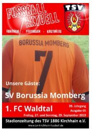 27. + 29. 09. 2019 Stadionzeitung SV Momberg - 1. FC Waldtal