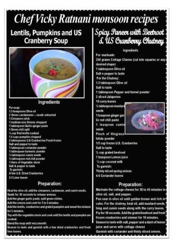 Vicky Ratnani Recipes - U.S Cranberries