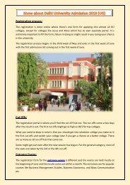 Know about Delhi University Admission 2019 (UG)