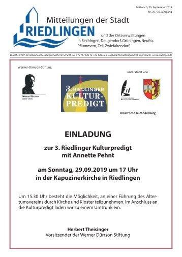 Amtliches Mitteilungsblatt Riedlingen 25.09.2019