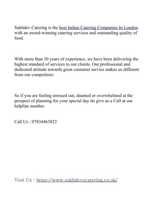 INDIAN CATERING COMPANIES IN LONDON