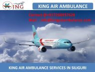 Air Ambulance Service in Siliguri and Allahabad with MD Doctor by King