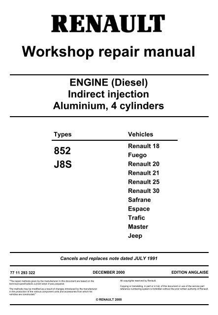 Service & Repair Manuals Renault Trafic J8S 852 Diesel Engine ...