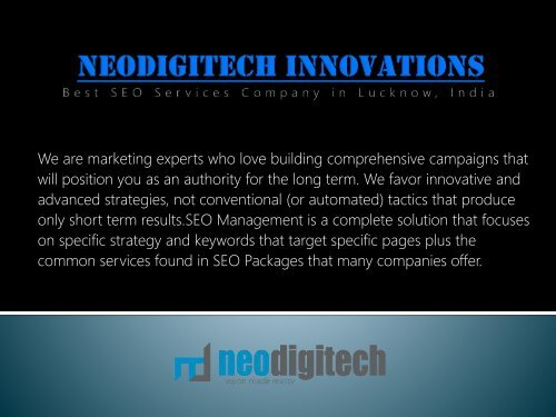 Find Best SEO Services Packages in Lucknow, India by Neodigitech Innovations