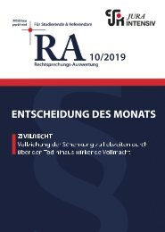RA 10/2019 - Entscheidung des Monats