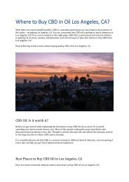 Where to Buy CBD in Oil Los Angeles
