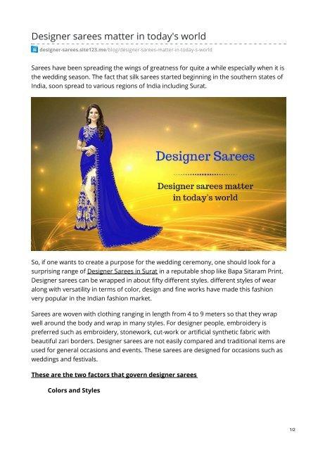 Designer Sarees Matter In Today 039 S World