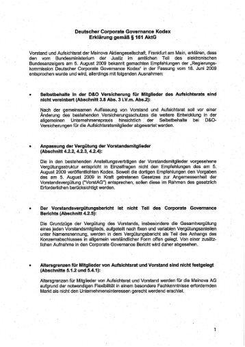 'Deutscher Corporate Governance Kodex - Mainova AG