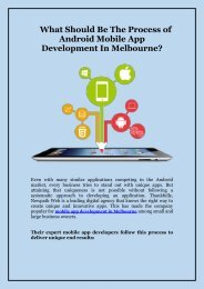 What Should Be The Process of Android Mobile App Development In Melbourne_