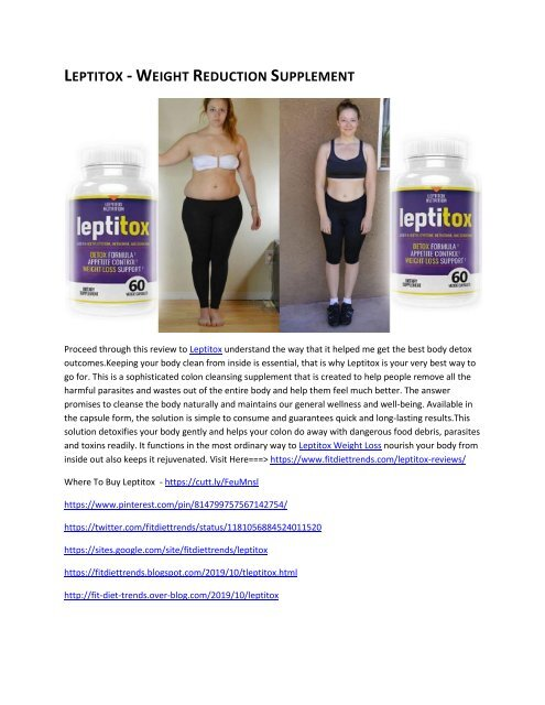 Features And Specifications Youtube Leptitox  Weight Loss