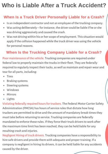 Who is Liable After a Truck Accident