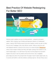 Best Practice Of Website Redesigning For Better SEO