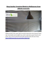 Shop Quality Venetian Blinds in Melbourne from eBlinds Australia