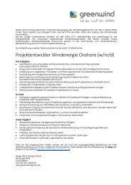 Jobanzeige: Projektentwickler Windenergie Onshore (m/w/d)