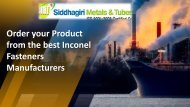 Order your Product from the best Inconel Fasteners Manufacturers