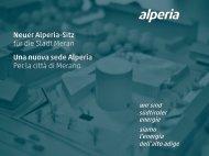 Neuer Alperia-Sitz für die Stadt Meran / Una nuova sede Alperia per la città di Merano
