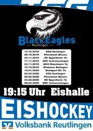TSG Reutlingen Black Eagles Eishockey Heimspiele 2019/20