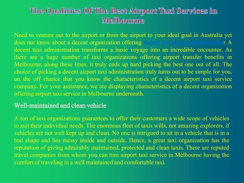 The Qualities Of The Best Airport Taxi Services in Melbourne