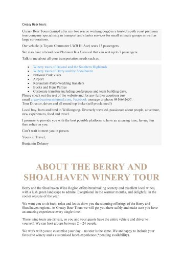 Creasy Bears Winery Tours