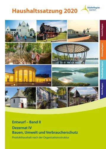 Haushaltsentwurf 2020 – Band II, Dezernat IV für Bauen, Umwelt und Verbraucherschutz