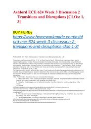 Ashford ECE 624 Week 3 Discussion 2 Transitions and Disruptions [CLOs- 1, 3]