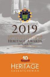 2019 Lieutenant Governor of Saskatchewan Heritage Awards Program