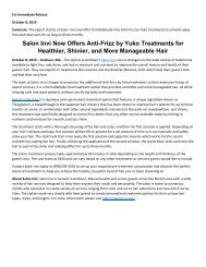 Salon Invi Now Offers Anti Frizz by Yuko Treatments for Healthier Shinier and More Manageable Hair