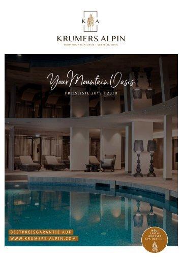 Krumers Alpin | Preisliste 2019 | 2020