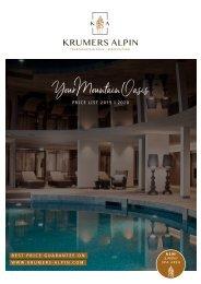 Krumers Alpin | Price list 2019 | 2020