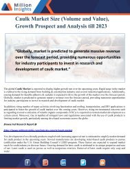 Caulk Market Size (Volume and Value), Growth Prospect and Analysis till 2023
