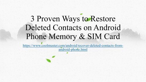 How to Restore Contacts on Android