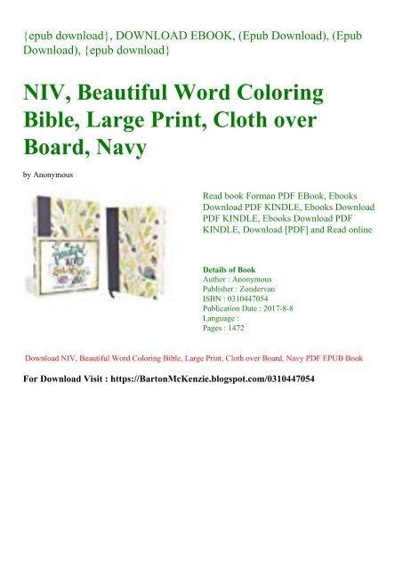 Download Pdf Niv Beautiful Word Coloring Bible Large Print Cloth Over Board Navy Epub Pdf
