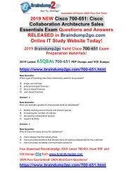 [2019-October-Version]New Braindump2go 700-651 VCE and 700-651 PDF Dumps Free Share