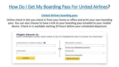 How Do i Get My Boarding Pass For United Airlines
