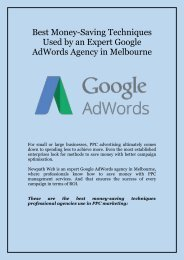 Best Money-Saving Techniques Used by an Expert Google AdWords Agency in Melbourne